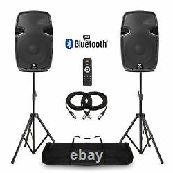 12 Bluetooth Active Powered Speakers + Stands USB MP3 DJ PA Disco Party 1200W