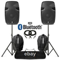 12 Bluetooth MP3 USB Active Powered Speakers with Stands + Bags DJ Disco 1200W
