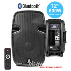 12 Inch Active 2-Way 600W PA Loud Speaker Bluetooth MP3 Moulded ABS DJ Disco