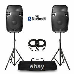 15 Bluetooth Active Powered Speakers & Stands USB MP3 DJ PA Disco Party 1600W