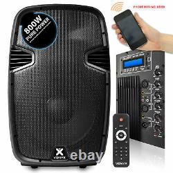 15 Bluetooth MP3 USB Active Powered Speakers with Stands & Bags DJ Disco 1600W