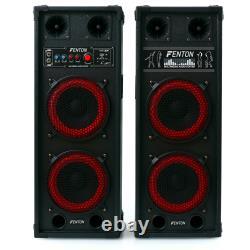 2 x 8 HIFI SPEAKERS MP3 SD USB MIC WOOFER DISCO PARTY PA KARAOKE PAIR 800W NEW