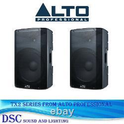 2 x ALTO TX212 600 WATT ACTIVE 12 POWERED DJ DISCO BAND AMPLIFIED SPEAKER