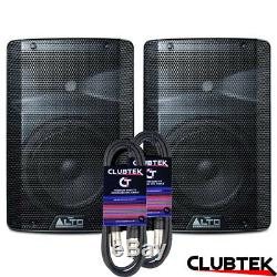 2 x Alto TX208 8 600W Active PA DJ Disco Powered Speaker PAIR with 6m Leads UK