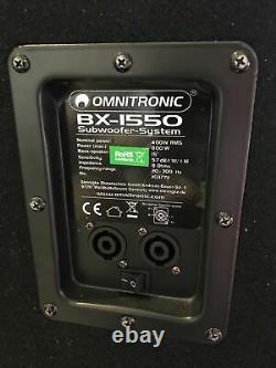 2 x Omnitronic Subwoofer Bass Bin Speaker 800W BX-1550 DJ Disco PA System