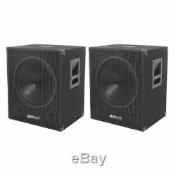 2 x QTX QT15SA 15 600W Active Powered Subwoofer Bass Bin Speaker Pair DJ Disco