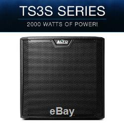 2x Alto TS312S 12 4000W Powered Active PA Subwoofer Sub Speaker DJ Disco +Cover