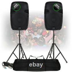 2x Ekho RS12A 12 Active PA Speakers with Stands Mobile Disco DJ Party 1200W