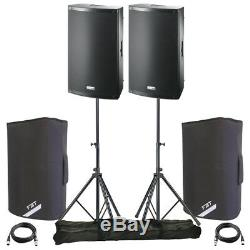 2x FBT X-LITE 10A 10 2000W Powered Active PA Speaker DJ Disco + Covers + Stands