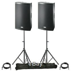 2x FBT X-LITE 12A 12 2000W Powered Active PA Speaker Disco Band +Stands +Leads