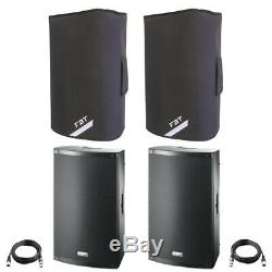 2x FBT X-LITE 15A 15 2000W Powered Active PA Speaker Disco Band +Covers +Leads