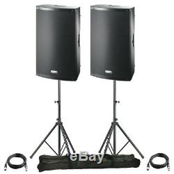 2x FBT X-LITE 15A 15 2000W Powered Active PA Speaker Disco Band +Stands +Leads