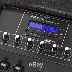 2x Ibiza Sound Active Speaker Column PA System 400W 10 DJ Disco Sound System