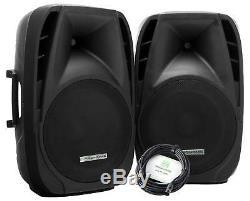 2x PA Active Speaker Portable Trolley 15 DJ Disco Party USB SD Bluetooth 700W