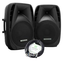 2x PA Active Speaker Portable Trolley 15 DJ Disco Party USB SD Bluetooth 700W
