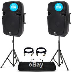 2x PRO RS12A V3 Active PA Speaker 2400W 12 DJ Disco Sound System with Stands