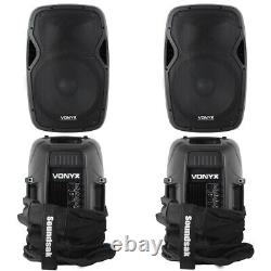 2x RS15A DJ Disco Party Active Speakers + Soundsak Universal Speaker Carry Bags