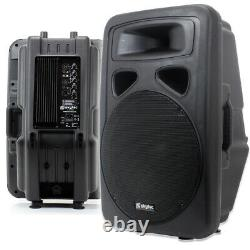 2x Skytec 15 Active Karaoke Party DJ PA Speakers + Cables Disco System 1600W