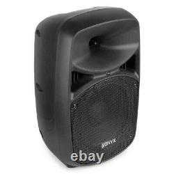 2x VPS082 Active PA Speakers 8 DJ Disco Sound System with Microphone & Cables
