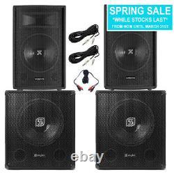2x Vonyx 10 Party Speakers Active Powered Disco DJ 15 Subwoofers 2200W Power