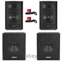 2x Vonyx 12 Party Speakers Active Powered Disco DJ 18 Subwoofers 3200W Power