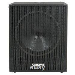 2x Vonyx 12 Party Speakers Active Powered Disco DJ 18 Subwoofers 3200W Power