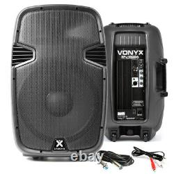 2x Vonyx 15 Active Karaoke Party DJ Speakers + Cables Disco PA System 1600W