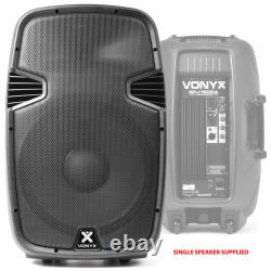 2x Vonyx Active Powered DJ Speakers 1600W 15 PA Disco Sound System with Stands