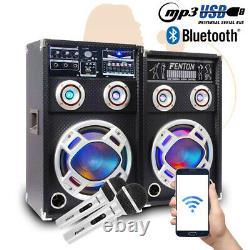 800W 6.5 PA Bluetooth Active Speaker Set LED Disco Lights & DJ Microphones