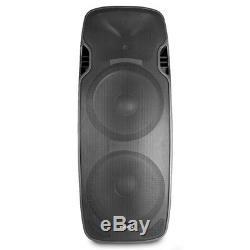 Active DJ Speaker Twin 15 Woofer Bluetooth Streaming PA Disco 1200W Amplifier