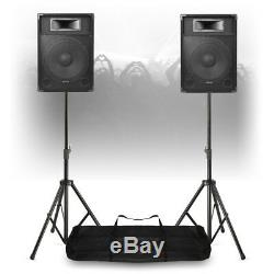 Active DJ Speakers CSA 15 Mobile Powered PA Disco (Pair) with Stands 1600W