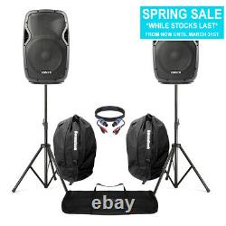 Active Powered 12 Mobile DJ PA Disco Speaker Set + Stands, Bags & Cables 1200W