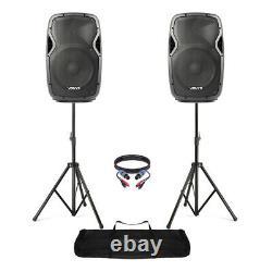 Active Powered 12 Mobile DJ PA Disco Speaker Set with Stands & Cables 1200W