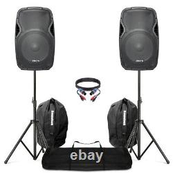 Active Powered 15 Mobile DJ PA Disco Speaker Set + Stands, Bags & Cables 1600W