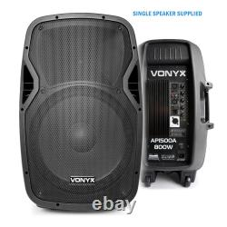 Active Powered 15 Mobile DJ PA Disco Speaker Set with Stands & Cables 1600W