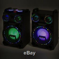 B-Stock VS10 Active Powered Bluetooth Disco Speakers DJ Party Set with LED