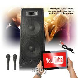 Big Karaoke Stage PA Speaker System LOUD 3200w Dual 15 Driver Disco Party Set