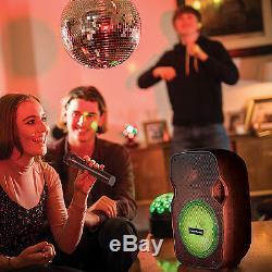 Bluetooth Karaoke Speaker & LED Disco Light System Party Music Portable PA Kit