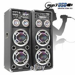 Bluetooth Karaoke Speakers Dual 10 USB Home Party Disco LED Lights 400W Powered