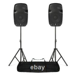 Compact Powered PA Speakers 800W 10 Woofer + Stand Kit DJ DiscoSPJ1000AD