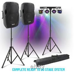 Complete PA System Active Speakers with Partybar PAR Derby Disco Stage Lights