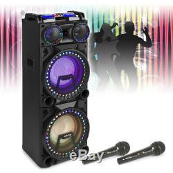 Dual 10 Active Bluetooth Disco Speaker Karaoke Party DJ Lights with Microphones
