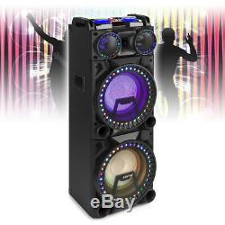 Dual 10 Bluetooth Karaoke Party Speakers with Disco Lights MP3 Music System