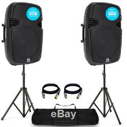 Ekho RS15A 15 1600W Active DJ Disco PA Club Stage Speaker (Pair) + PRO Kit