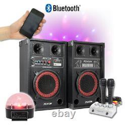 Fenton 8 Powered Bluetooth Speakers Disco Karaoke Microphones, Mixer and Lights