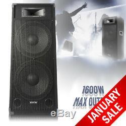 Fenton CSB215 Active Dual 15 Powered DJ Party PA Disco Karaoke Speaker 1600W