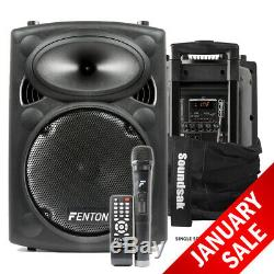 Fenton FPS10 Active Bluetooth Disco Party Speaker + Soundsak Speaker Carry Bag