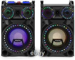 Fenton VS10 Active Powered Bluetooth Disco Speakers DJ Party Set with LED Lights