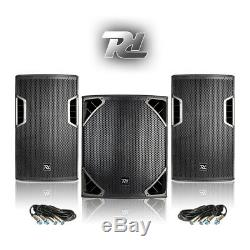 Full PA Set 12 DJ Speakers 15 SubWoofer Powerful Disco Club Install 1300W