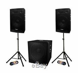 Ibiza Sound Cube1512 800w 2.1 15 Sound System Pa Dj Disco Subwoofer Bundle
